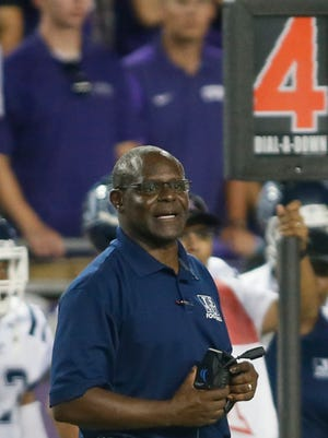 Jackson State Tigers head coach Tony Hughes on the sidelines during the game against the TCU Horned Frogs at Amon G. Carter Stadium.