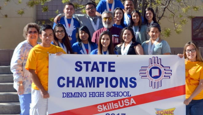 """The Deming High School SkillsUSA Family returned from state competition with its third consecutive SkillsUSA State Championship. The chapter is now preparing for the National Conference in Louisville, Kentucky the third week of June. Students have been put in the unfamiliar position of an aggressive fundraising campaign to insure that everyone who qualifies for national competition has the opportunity to attend. Funding is scarce for the remainder of the year. The account is exhausted and the chapter is relying on the faithful support of the community to assist students with their endeavors.Members are hosting a """"Family/Spirit Night"""" from 5 to 8 p.m. on Thursday, April 20, at Sonic Drive. DHS will receive 10 percent of sales that evening. Please consider supporting DHS SkillsUSA with these and a few more fundraising events before June."""