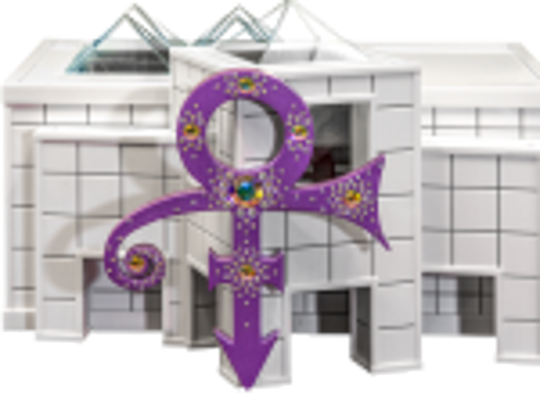 The glass-and-ceramic urn, modeled on Paisley Park,