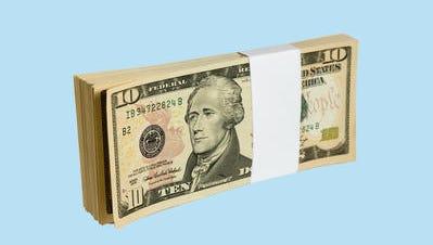 Wad of 10 dollar bank notes