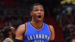 Oklahoma City Thunder guard Russell Westbrook will
