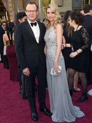 Tom McCarthy (left) and Wendy Merry arrive at the Oscars