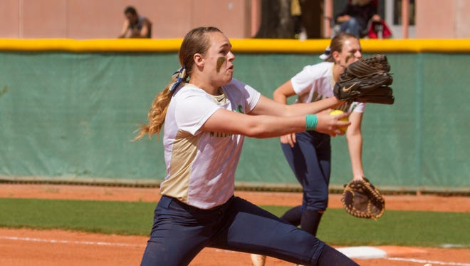 Snow Canyon softball holds off Pine View for a 5-0 win Tuesday, April 26, 2016.