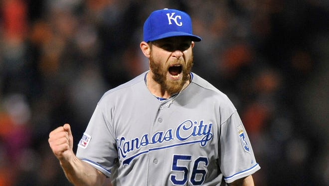 Greg Holland, 31,hasn't pitched in a game since having Tommy John elbow surgery 17 months ago.