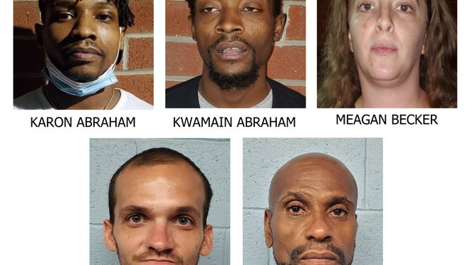 Authorities say Karon Abraham, Kwamain Abraham and Meagan Becker were allegedly distributing drugs, specifically heroin, out of their Merriam Gateway apartment in Newton. In turn, Joshua Sliker and Stacy Spencer allegedly sold the drugs in Newton, according to police.