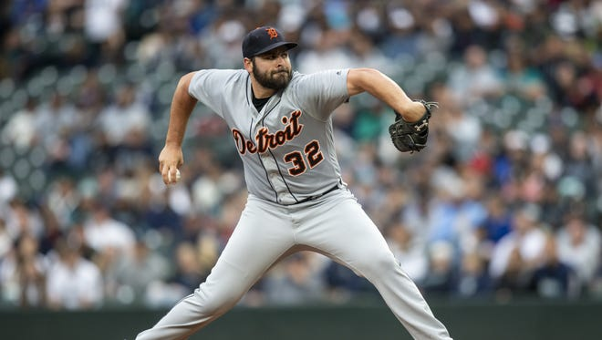 Tigers starter Michael Fulmer delivers a pitch during the first inning against the Seattle Mariners at Safeco Field on Friday in Seattle.