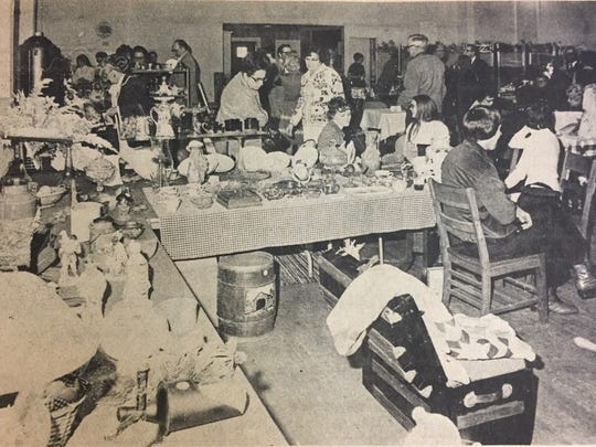 Hundreds of people attended the first annual Waverly Knights of Columbus Antique Show and Sale in December 1973.