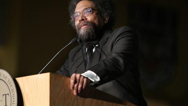 """Cornell West, author of the book """"Race Matters,""""  speaks at RIT's Gordon Field House and Activity Center as part of the Martin Luther King Celebration on Jan.  23, 2012."""