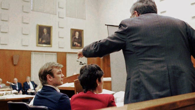 Milwaukee District Attorney E. Michael McCann points at Jeffrey Dahmer during closing arguments in Dahmer's  1992 serial murder trial.