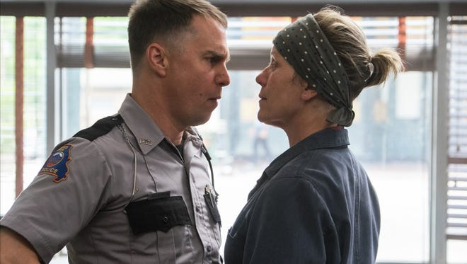 """Dixon (Sam Rockwell) and Mildred (Frances McDormand) face off in """"Three Billboards Outside Ebbing, Missouri."""""""