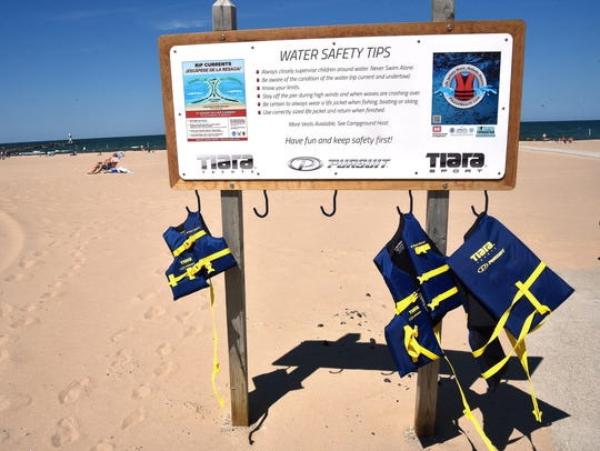 Signage about water safety has been posted around the