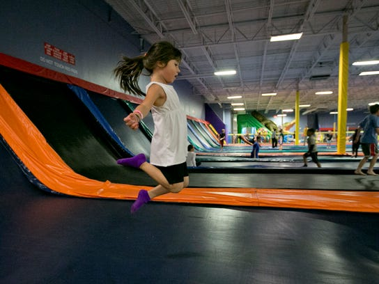 Layla Hernandez plays at Jumpstreet Indoor Trampoline Park in Glendale.