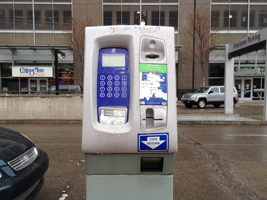 A file photo shows a broken parking meter in the 100 block of Monroe in Detroit.