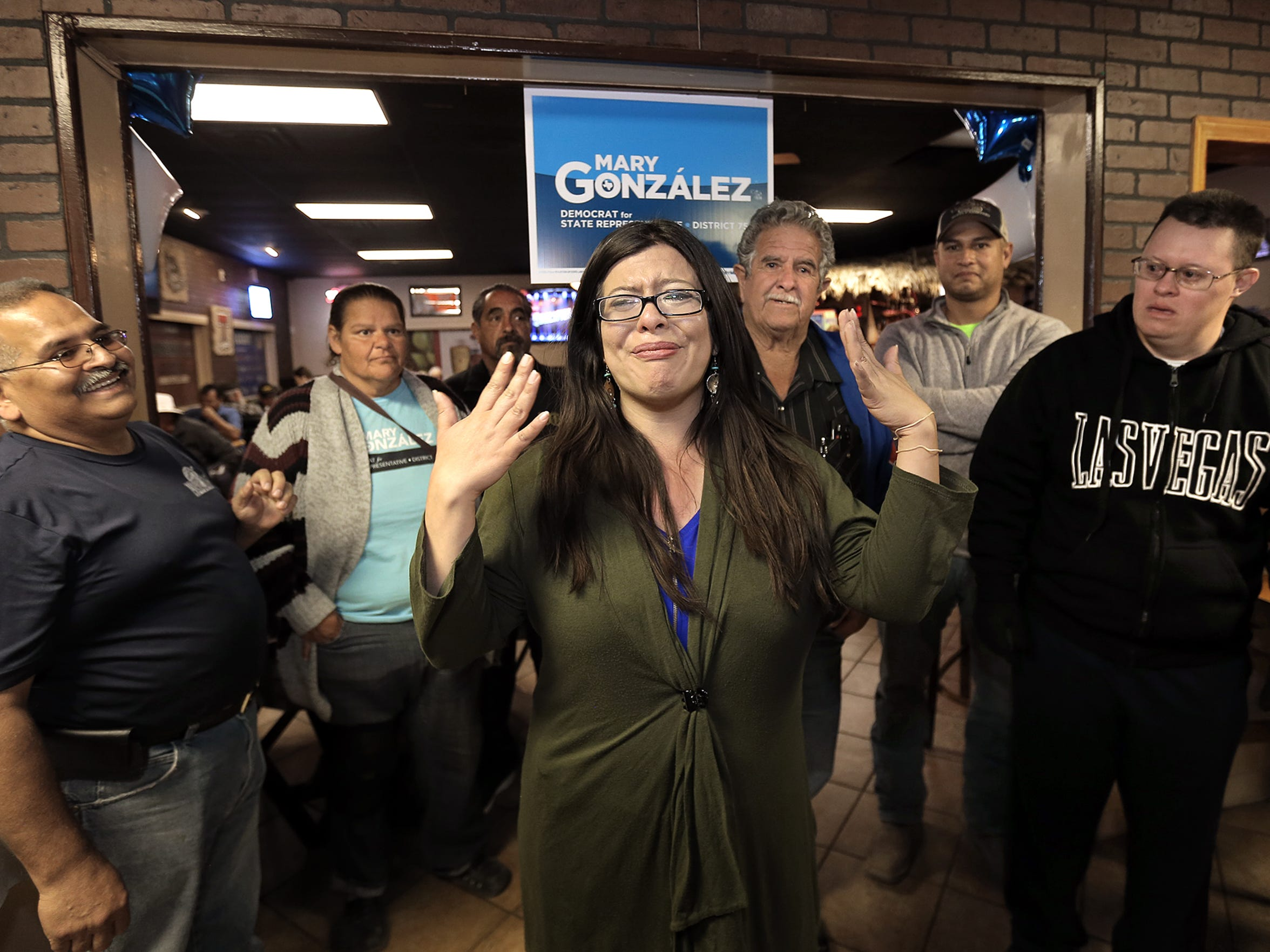 State Rep. Mary Gonzalez was overcome with emotion after supporters began cheering upon her arrival at her election night watch party at Mamacitas Restaurant in Clint Tuesday. Gonzalez was reelected to the House District 75 seat, beating MarySue Femath.