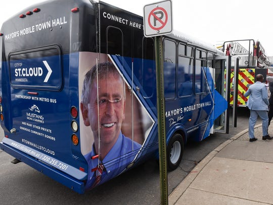 A new bus that St. Cloud Mayor Dave Kleis will use