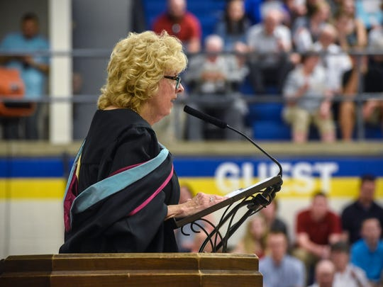 Cathedral High School principal Lynn Grewing speaks during the Friday, May 25, 2018 graduation ceremony in St. Cloud.