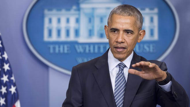 President Obama speaks during a press conference in the Brady Press Briefing Room of the White House on Nov. 14, 2016.