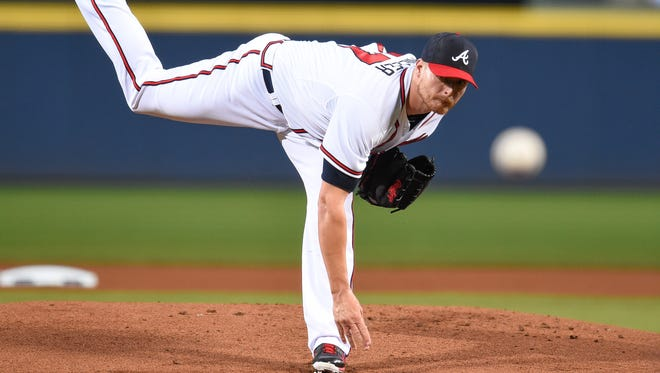 Braves starting pitcher Shelby Miller works against the Miami Marlins at Turner Field.