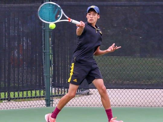 Hunter Leila won his three singles sets, 7-5, 6-2,