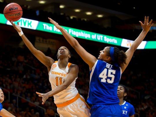 Tennessee's Diamond DeShields attempts a layup past
