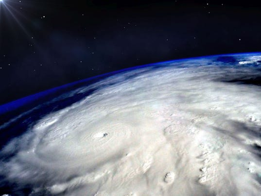 Hurricane typhoon over planet Earth viewed from space. Elements of image are furnished by NASA.