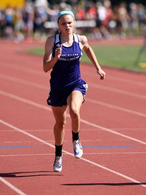 Mount Gilead's Olivia Brewer runs in the girls 100-meter dash at the state track and field championships at Ohio State's Jesse Owens Memorial Stadium in Columbus to wrap up her career. Brewer was named MOAC Blue Division Girls Track Athlete of the Year for 2017.