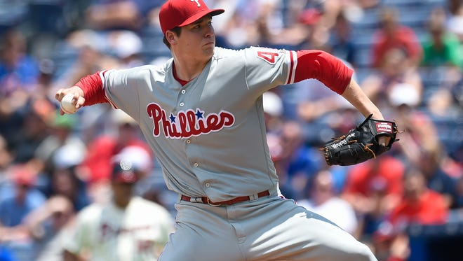 Philadelphia Phillies starting pitcher Jerad Eickhoff pitches against the Atlanta Braves during the second inning at Turner Field. His five-inning start was cut short because of a rain delay.