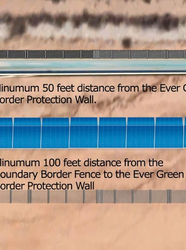 This design submission from Advanced Warning Systems calls for a 22-foot tall wall made of solar panels, reinforced with a six-foot chain link fence 100 feet away.