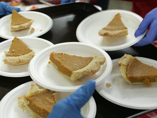 Pumpkin pie and cookies were among the many desserts