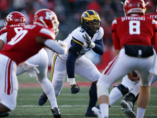 Nov 10, 2018; Piscataway, NJ, USA; Michigan Wolverines defensive lineman Rashan Gary (3) plays defense against the Rutgers Scarlet Knights during the first half at High Point Solutions Stadium. Mandatory Credit: Noah K. Murray-USA TODAY Sports