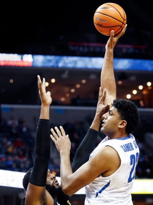 Memphis center Karim Sameh Azab puts ups a shot against the Wichita State defense during first half action at the FedExForum in Memphis Tenn., Tuesday, February 6, 2018.