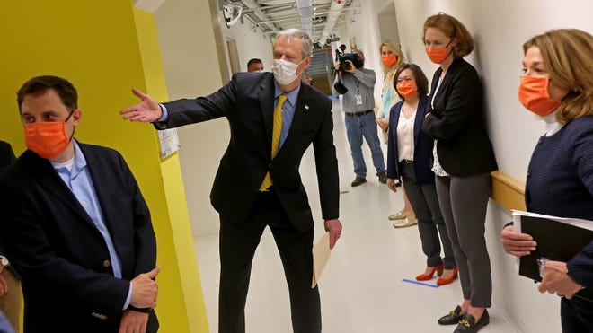 Gov. Charlie Baker gave his Friday afternoon news conference after touring Cambridge's LabCentral, a launchpad for biotech and life sciences startups.