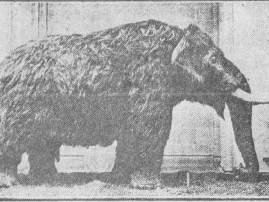 A recreated look of the mastodon, about 1929.