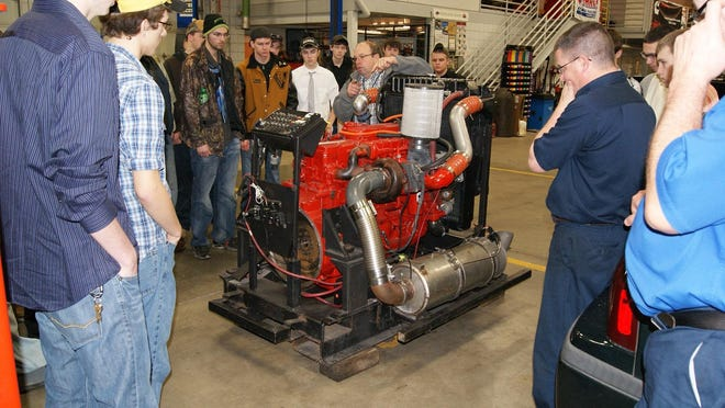 Junior and senior auto tech students from the career center took a tour of Washington State Community College.