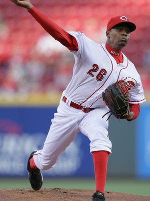 Cincinnati Reds starting pitcher Raisel Iglesias throws in the first inning.