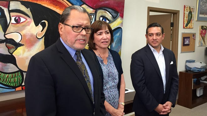 State Sen. Jose Rodriguez, left, state Rep.-elect Lina Ortega and state Rep. Cesar Blanco held a press conference Tuesday in support of EPISD's proposed $668.7 million bond.