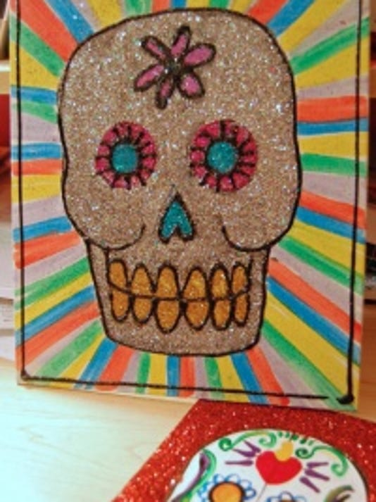 Day of the Dead glitter canvas