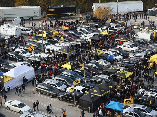 Iowa parking lots designated for tailgating near Kinnick Stadium are shown in 2013.