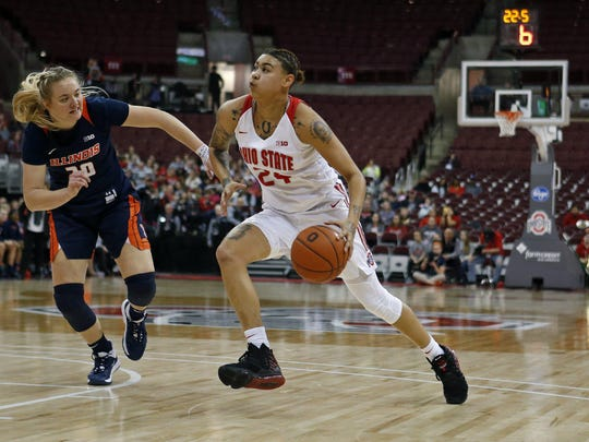 Kierstan Bell drives against Illinois' Courtney Joens during a game in Value City Arena on Jan. 19.