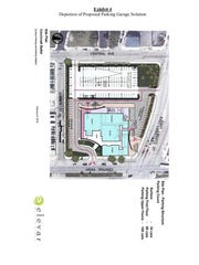 This image depicts one of two new proposed parking solution for the Cincinnati Ballet, which is a surface parking lot.
