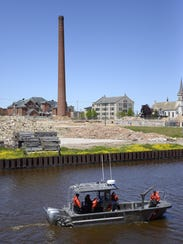 Members of Coast Guard Station Two Rivers patrol the