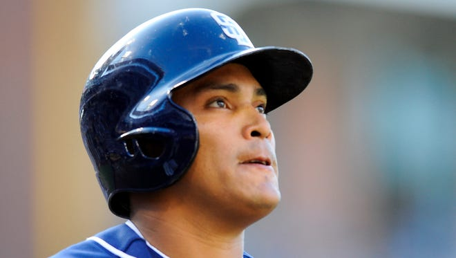 San Diego Padres shortstop Everth Cabrera (2) after striking out during a game in 2013.