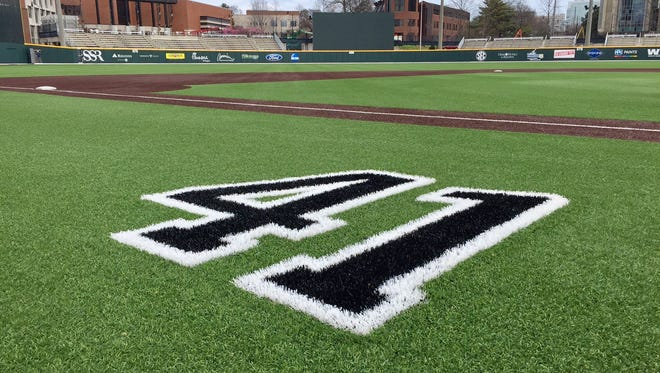 Former Vanderbilt pitcher Donny Everett's No. 41 is painted on the turf in front of the Commodores' dugout at Hawkins Field on Feb. 20, 2017. Everett, a Clarksville native, drowned on June 2, 2016.