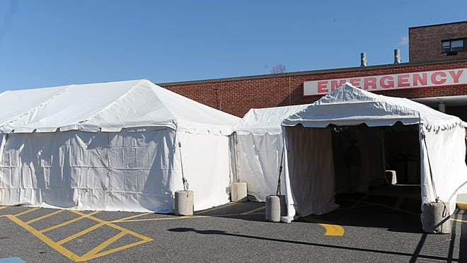 Tents were set up in March outside the MetroWest Medical Center Emergency Room Monday in the wake of the coronavirus outbreak.