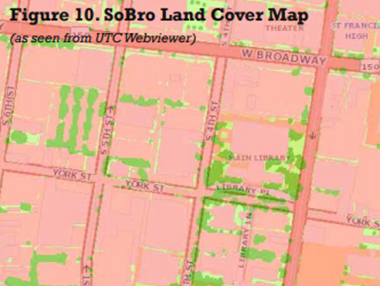Green areas show tree canopy in area south of Broadway.