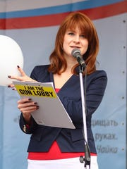 'The Right to Bear Weapons' Public Organization's Board Chairman Maria Butina attending a rally to demand expansion of citizens' rights in a Russian city in Russia.