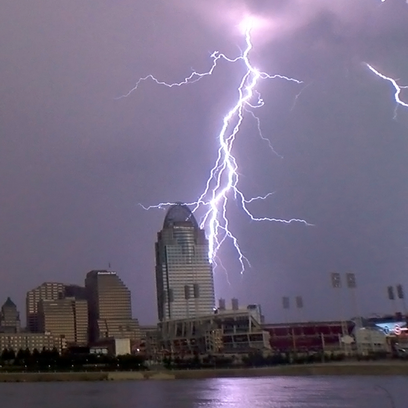 The view of the Cincinnati skyline on Tuesday afternoon