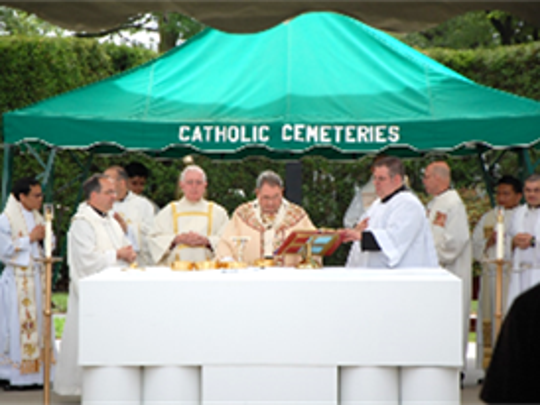 "Catholic Cemeteries of the Archdiocese of Newark joined thousands of Catholic cemeteries nationwide in the commemoration, ""Serving God and Country: A Memorial Day Salute to Our Heroes,"" last year."