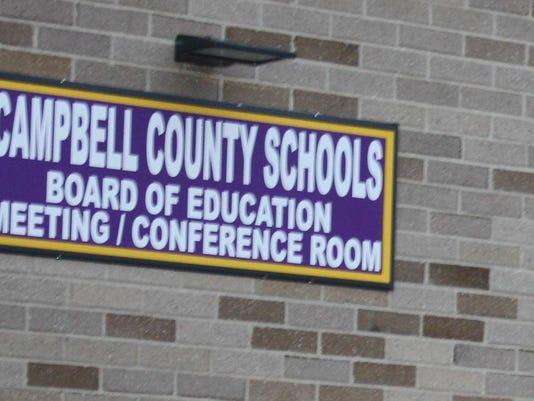 Campbell Schools board meeting room sign