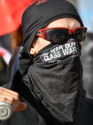 A member of the local Antifa group showed up to a planned a rally and protest on Public Square with a baseball bat and was met by group of  counter protesters.Monday May 1, 2017, in Nashville, TN
